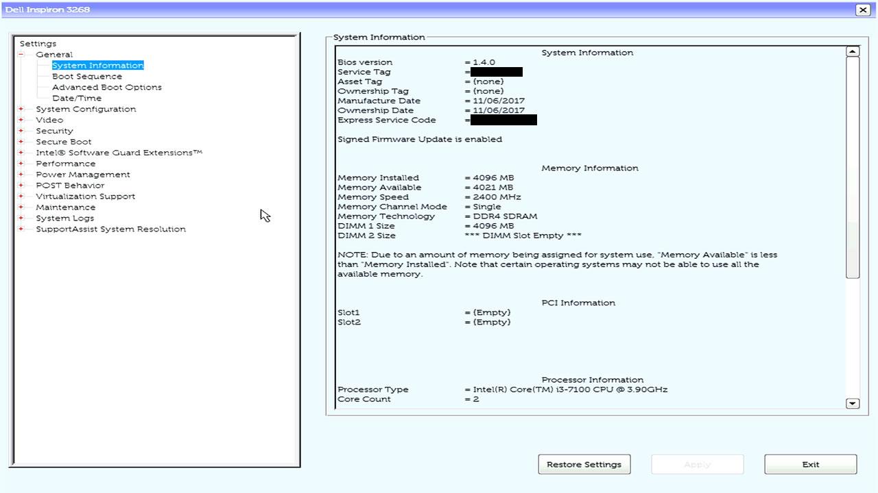 DELL Inspiron(3268)のUEFI画面 | fefcc net