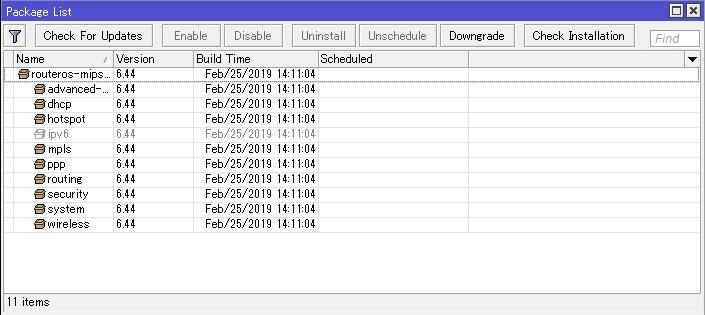 RouterOSをアップデート 6 43 12→6 44   fefcc net